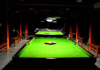 Billiards parlor & coffee shop in Alappuzha, Kerala with 4 pool tables.